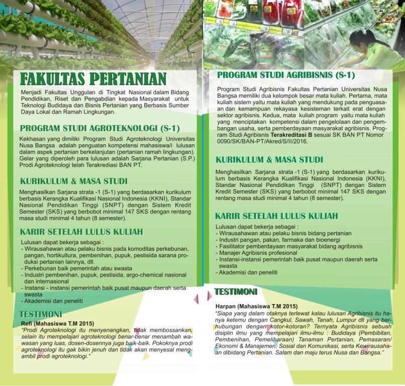 Brosur Pertanian Universitas Nusa Bangsa