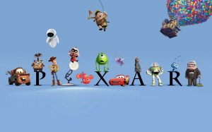 logo pixar la haut, cars, buzz, woody, wall e