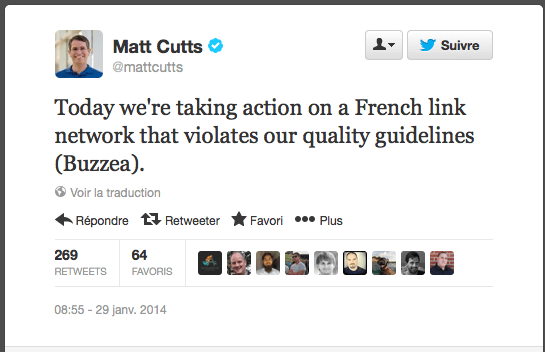 tweet matt cutts buzzea