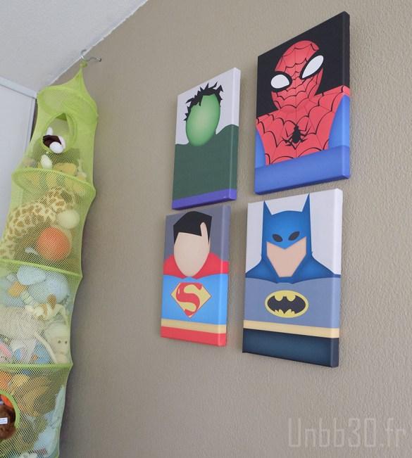 chambre enfant garçon tableaux marvel vintage spiderman batman hulk superman
