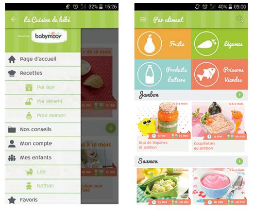 application recettes babymoov