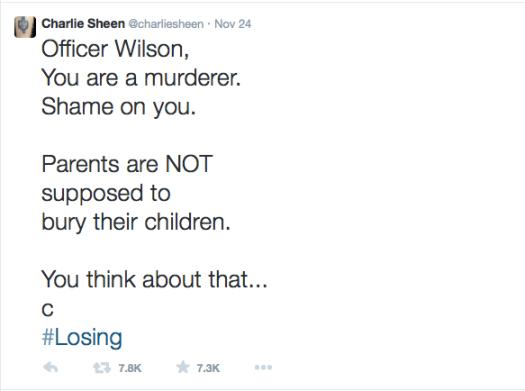 Charlie Sheen Tweets about Ferguson
