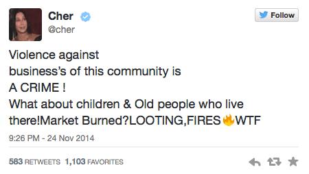 Cher Tweets about Ferguson