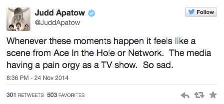 Judd Apatow Tweets about Ferguson