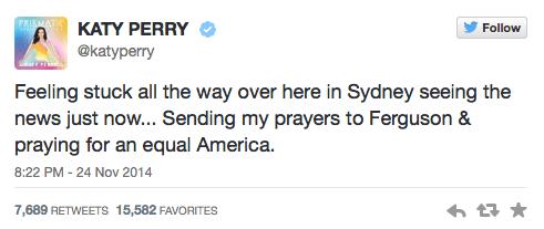 Katy Perry Tweets about Ferguson