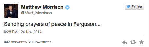Mathew Morrison Tweets about Ferguson