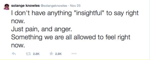 Solange Knowles Tweets about Ferguson