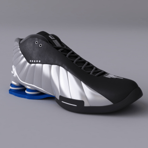 Black and Silver Nike Shox