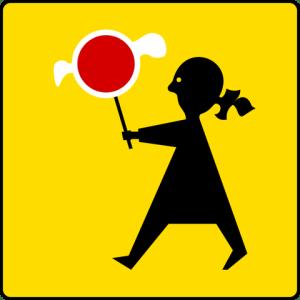Road sign of school ahead