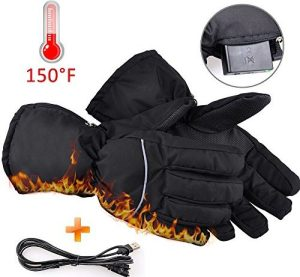 Winter Warm Gloves,Kamlif Battery Operated Heated Gloves with Motion Battery Operated Box and USB Power Line for Travel, Hiking,Rock Climbing,Skiing,Cycling