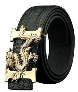 ALAKA Letter H Dragon Buckle Alligator Pattern Leather Mens Belt