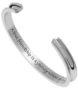 """Premium Stainless Steel Inspirational Cuff Bangle Bracelet - """"A true friendship is a journey without an end"""""""