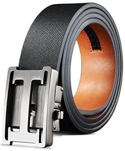 H Belts for Men Genuine Leather Ratchet Dress Belt Slidding Buckle Regular Big and Tall Sizes