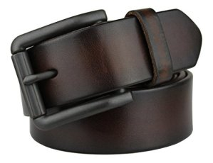 Bullko Men's Genuine Leather Belt Nickel Free Buckle