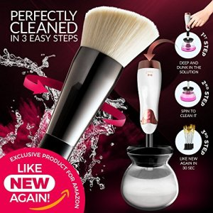 Makeup Brush Cleaner Machine - 2 Speed Electric Makeup Brush Cleaning Tool ALL Brushes USB Rechargeable - Prevents Bad Skin - Cleans in Seconds