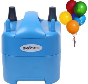 Signstek Electric Portable Household Air Blower Electric Balloon Air Pump Inflator with 15000pa Single Nozzle 700L/min Air Volume and Dozen of Balloons
