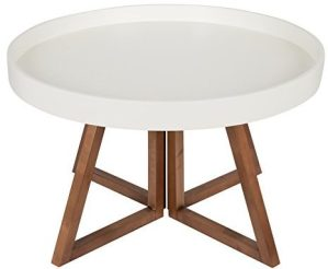 Kate and Laurel - Avery 30 Inch Round Coffee Table, White and Walnut Brown