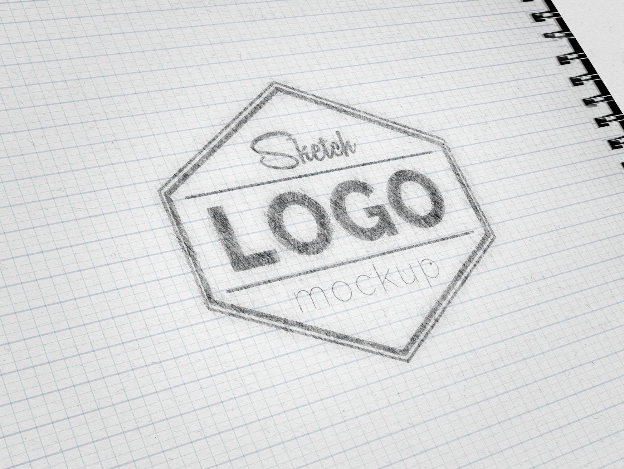 Free Sketch Logo Mockup Psd