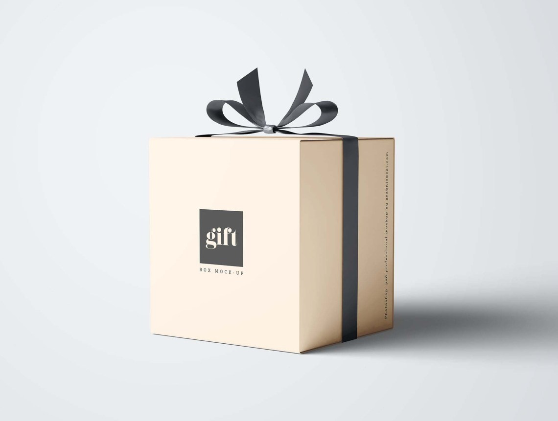 Download Free Gift Box Mockup (PSD)