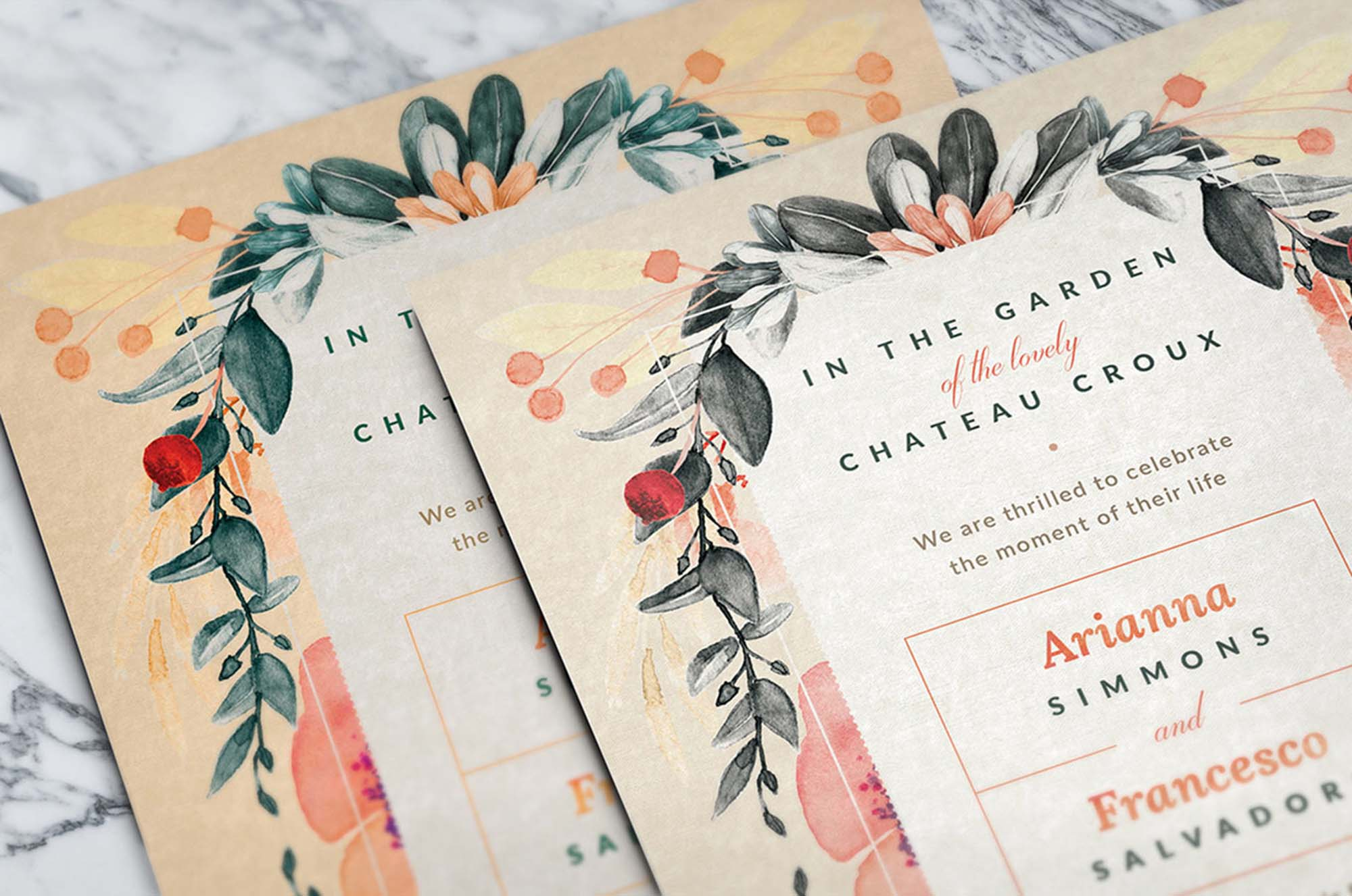 Free Blush Noir Wedding Invitations Template Psd