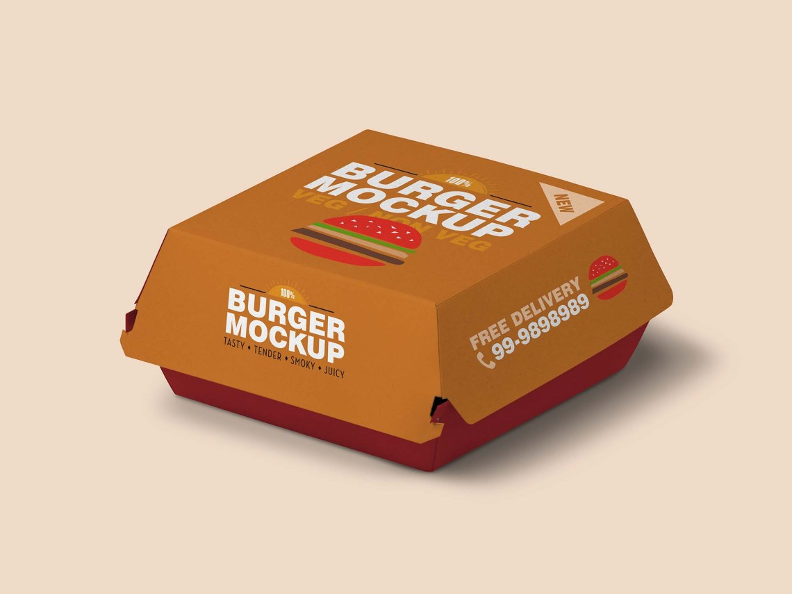 Download Free Burger Packaging Mockup (PSD)