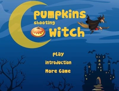 Pumpkins Shooting Witch