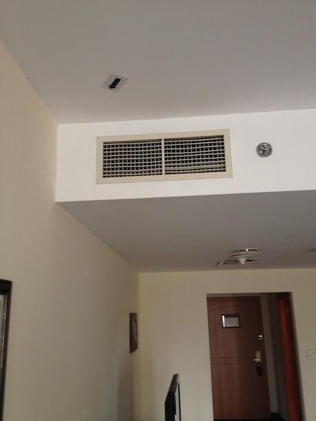 Arrow on ceiling of hotel room in Dubai