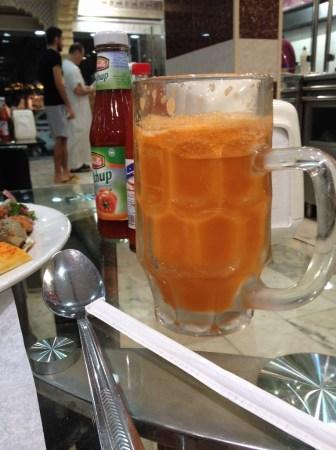 Fresh carrot juice.