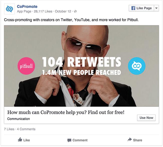 CoPromote Pitbull facebook ad example critique