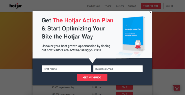 Hotjar Pricing Page Overlay