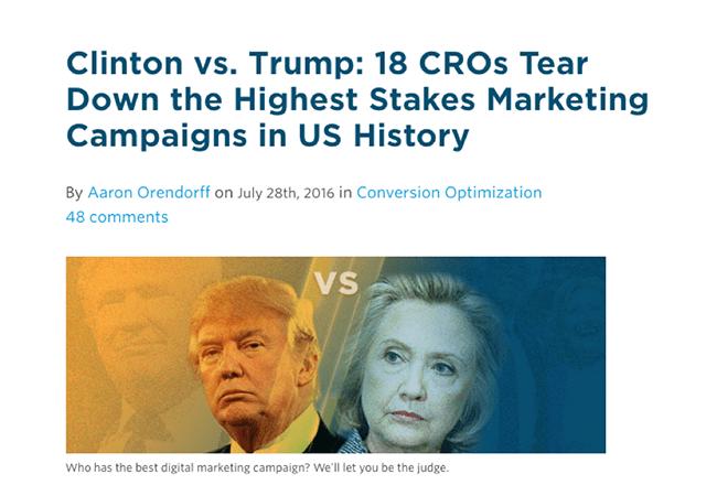 Clinton vs. Trump presidential tear down post
