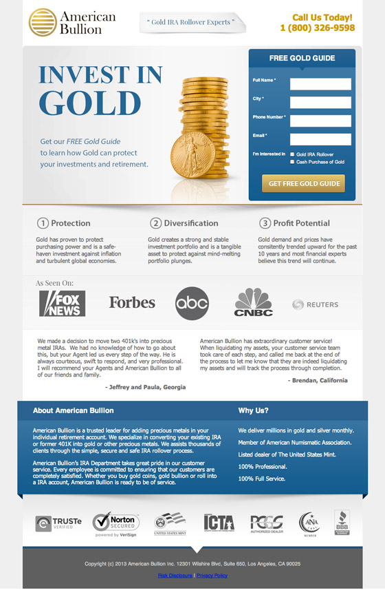 american bullion landing page example