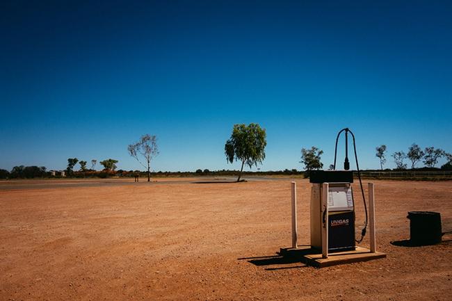 Deserted gas station