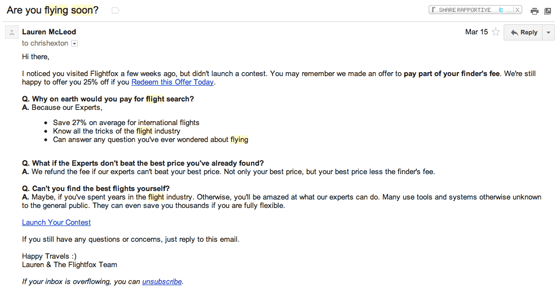 flightfox drilling down funnel email