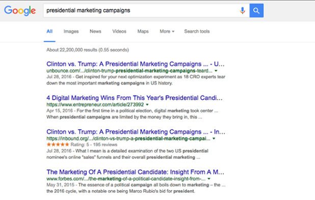 presidential marketing campaigns google search