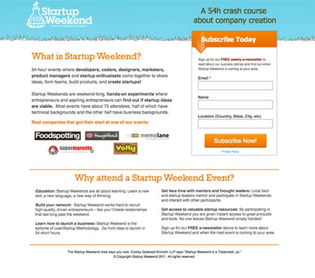 Startup Weekend landing page copy