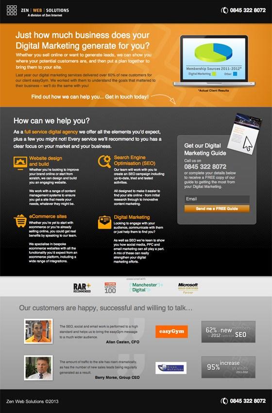 zen web solutions landing page example