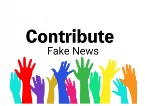 hands raised with words Contribute Fake News