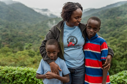 Dr. Gladys with her two children, Ndhego and Tendo.