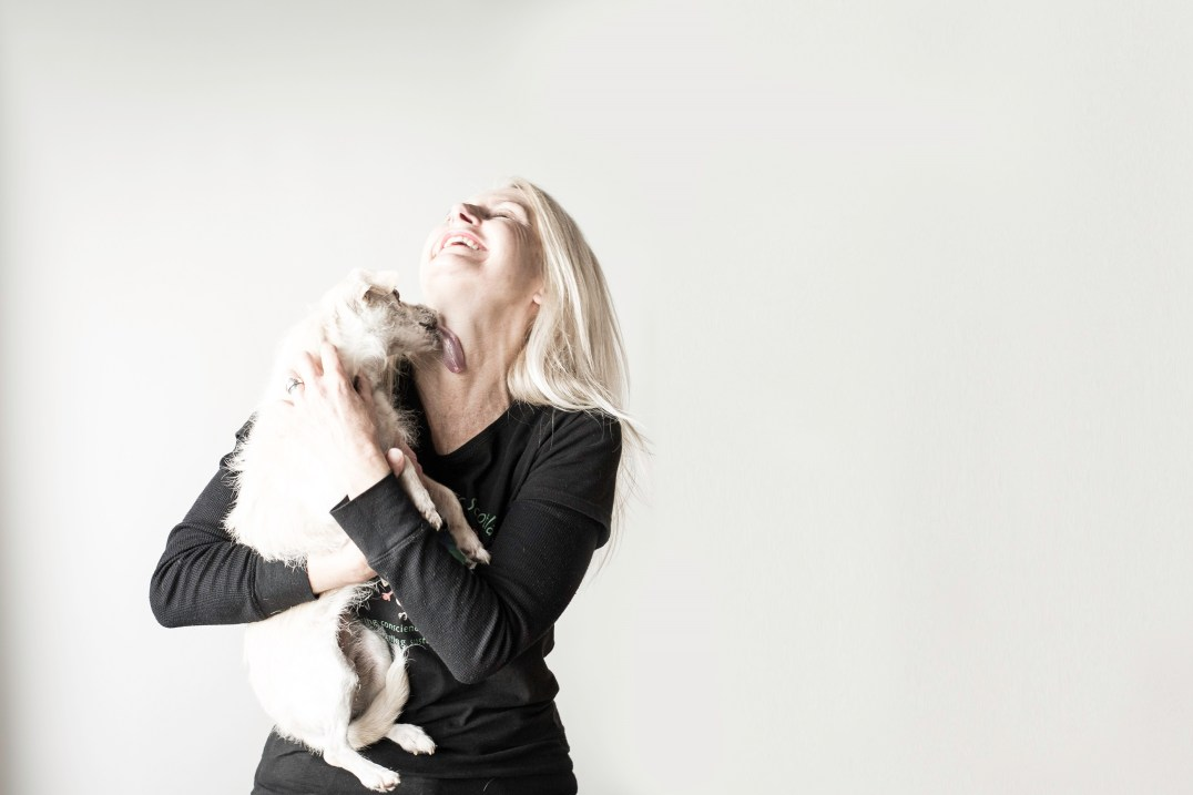 Rebecca Knowles and rescue dog