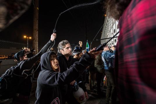 Actor Joaquin Phoenix joins Los Angeles Animal Save activists at a vigil. USA, 2019.