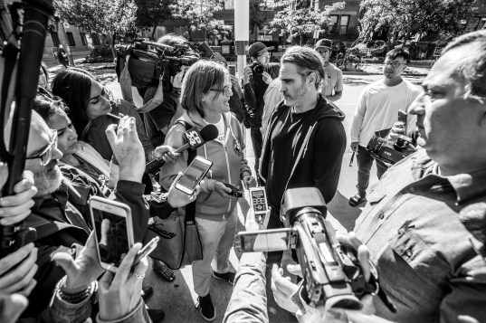 Actor Joaquin Phoenix joins Anita Krajnc and Animal Save Movement activists in Toronto for a tour of the Be Fair Be Vegan subway ad campaign. Canada, 2019.