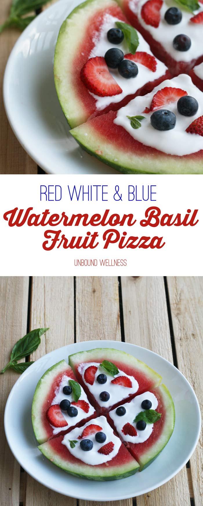 Red White & Blue Watermelon Basil Fruit Pizza (AIP & Vegan)
