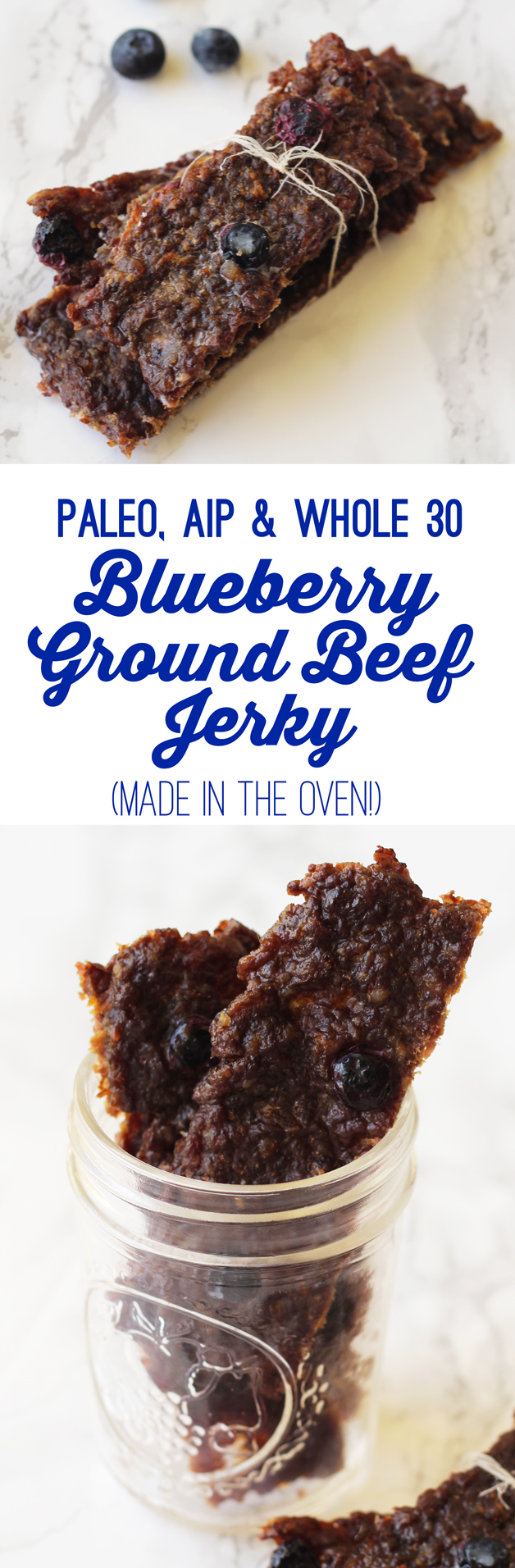 Blueberry Beef Jerky Made in The Oven with Ground Beef (Paleo, AIP, Whole 30)