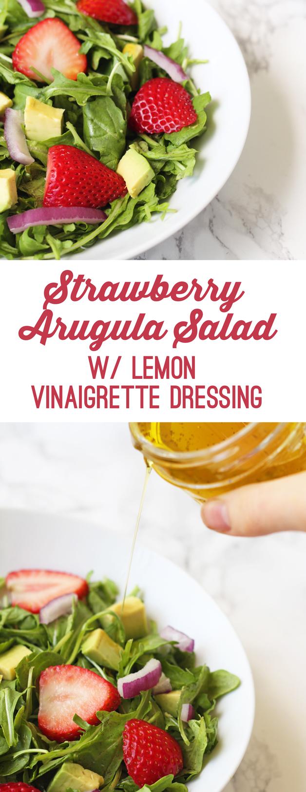 Spring Strawberry Arugula Salad with Lemon Vinagrette (Paleo, AIP, Whole 30)
