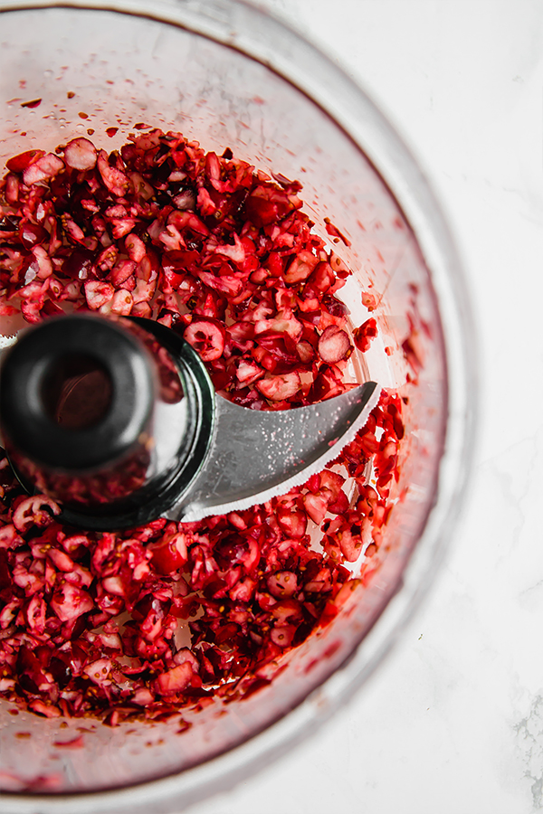 Cranberries in food processor