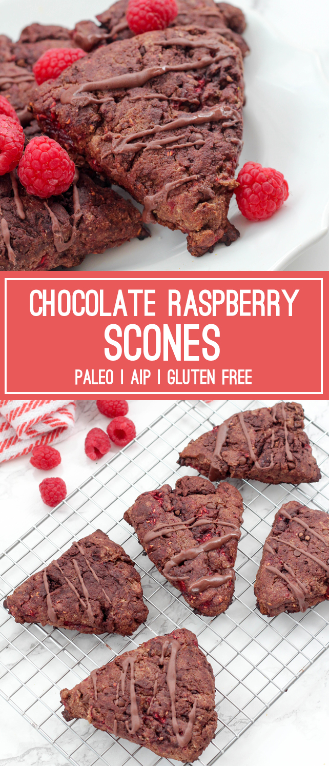 Paleo Chocolate Raspberry Scones (AIP, Valentine's Day)