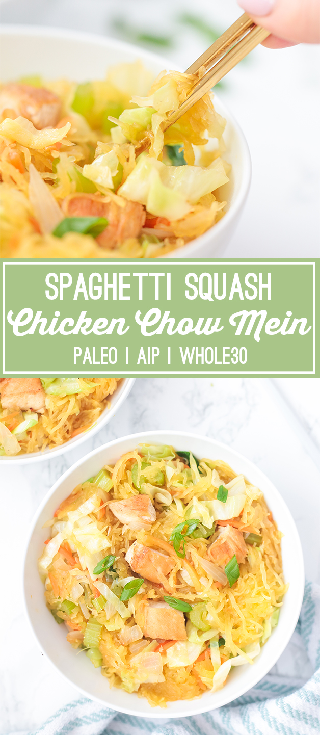 Spaghetti Squash Chicken Chow Mein (Paleo, Whole30, AIP)