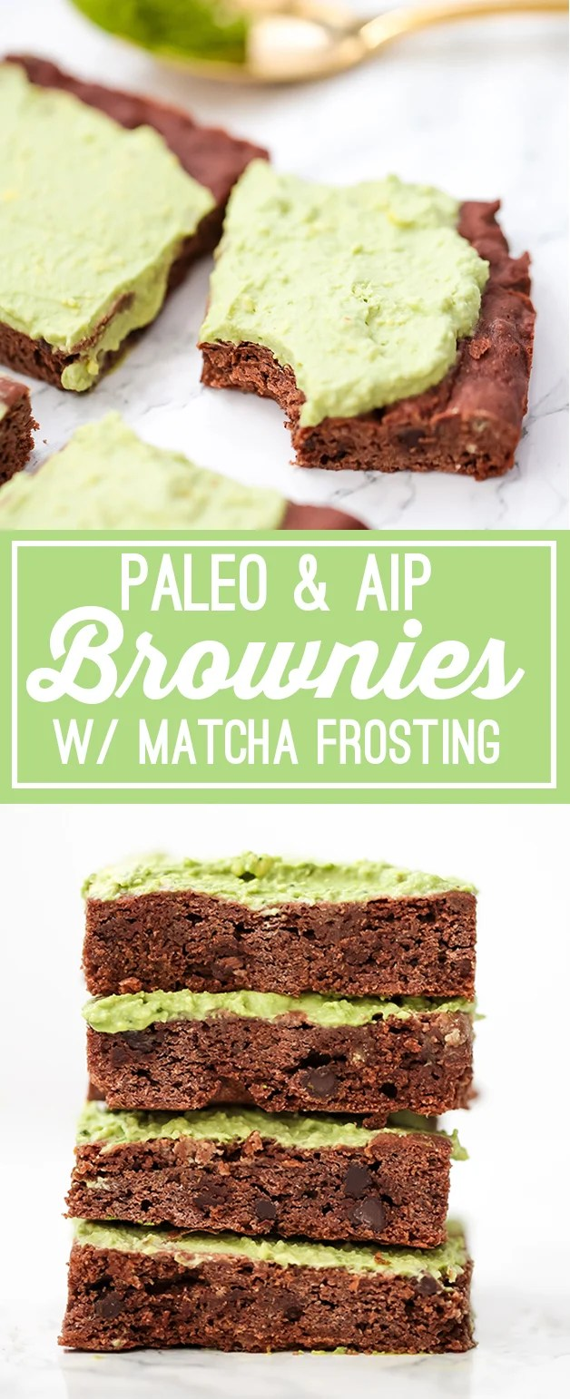 Paleo Brownies with Matcha Frosting (AIP)