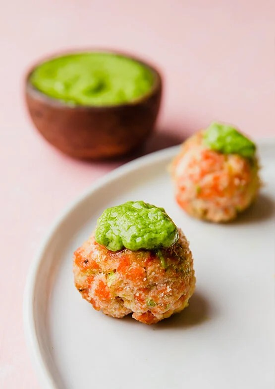 Salmon Meatballs with Avocado Green Goddess